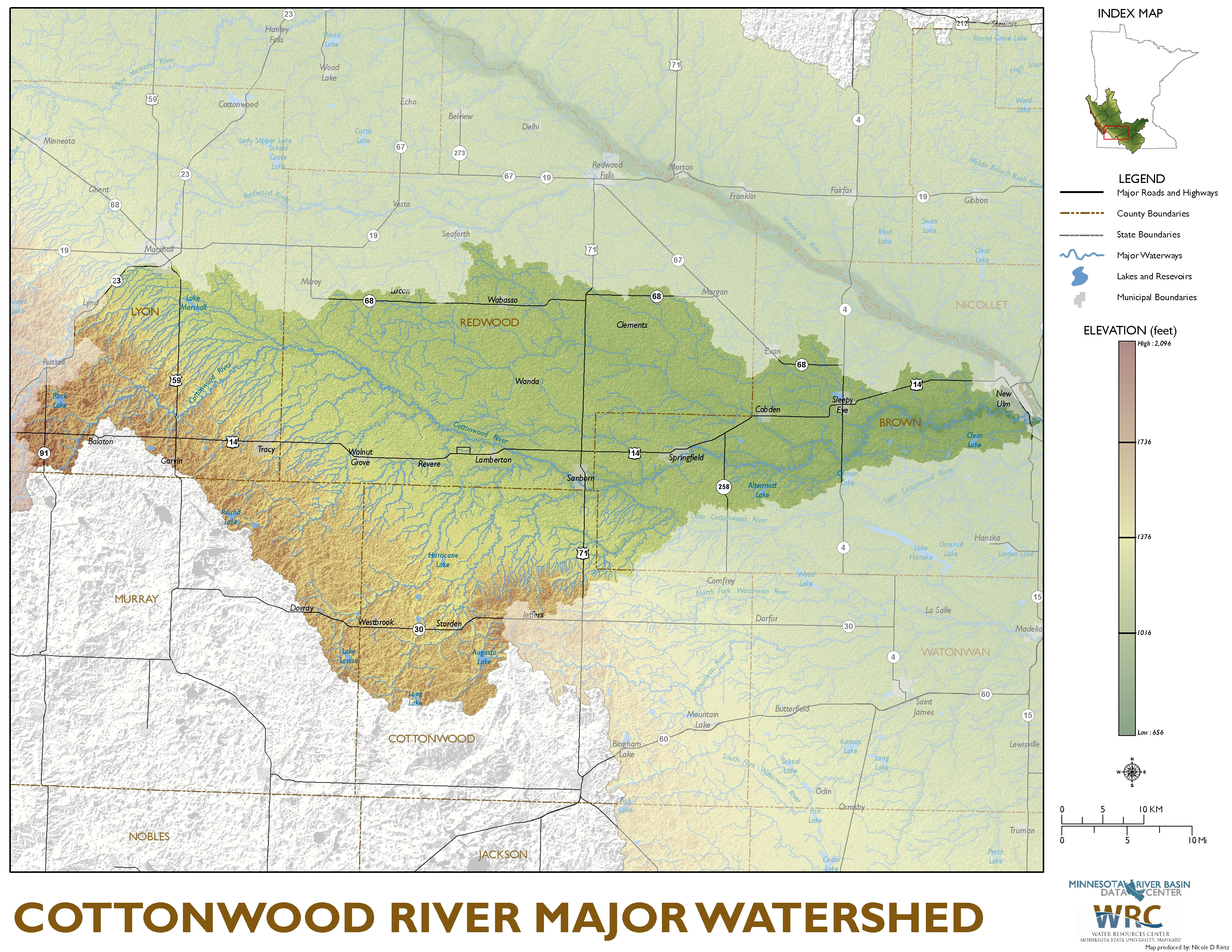Cottonwood River Major Watershed Map