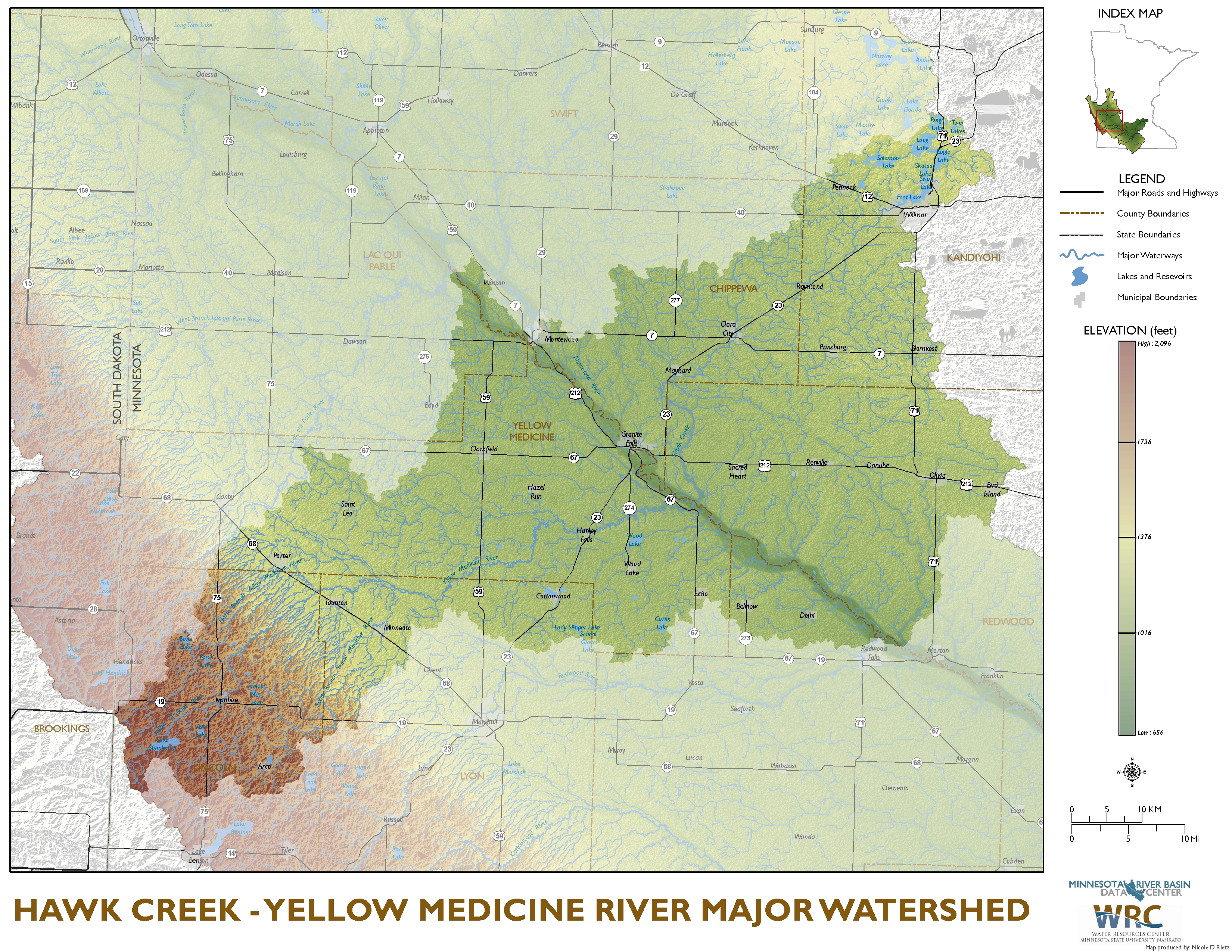 Hawk Creek-Yellow Medicine Watershed Map