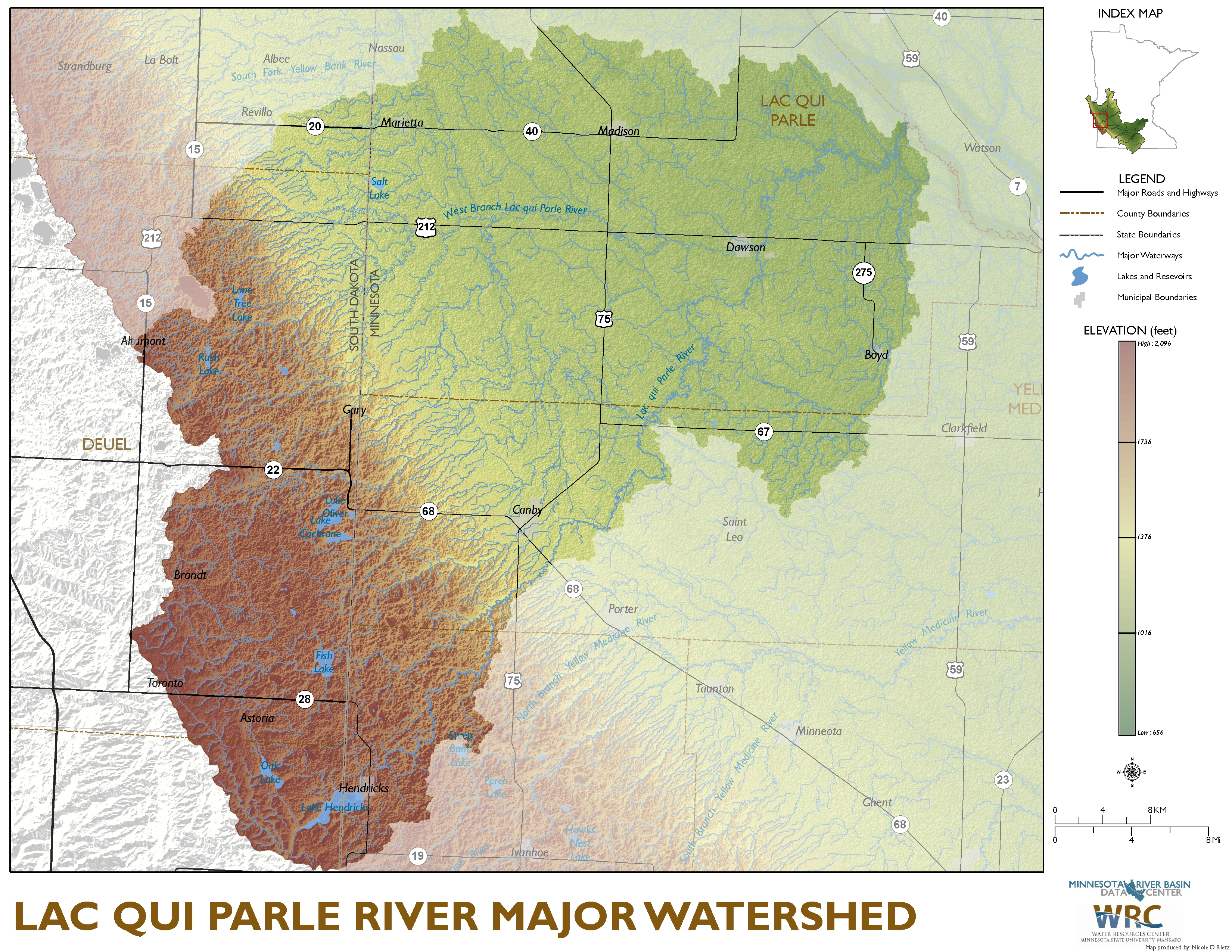 Lac qui Parle River Major Watershed Map
