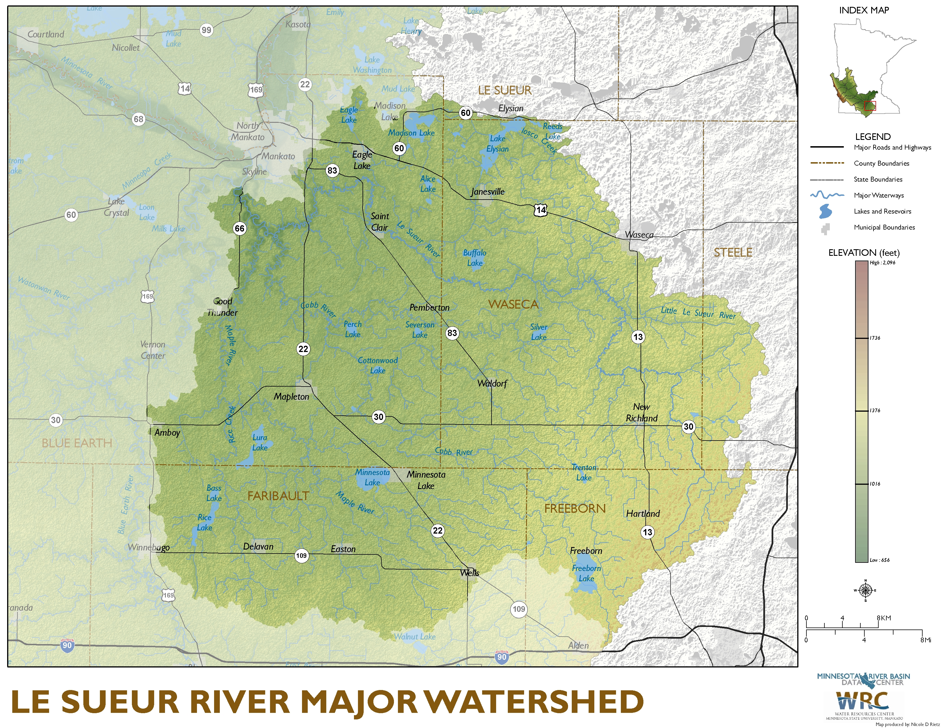 Le Sueur River Major Watershed Map