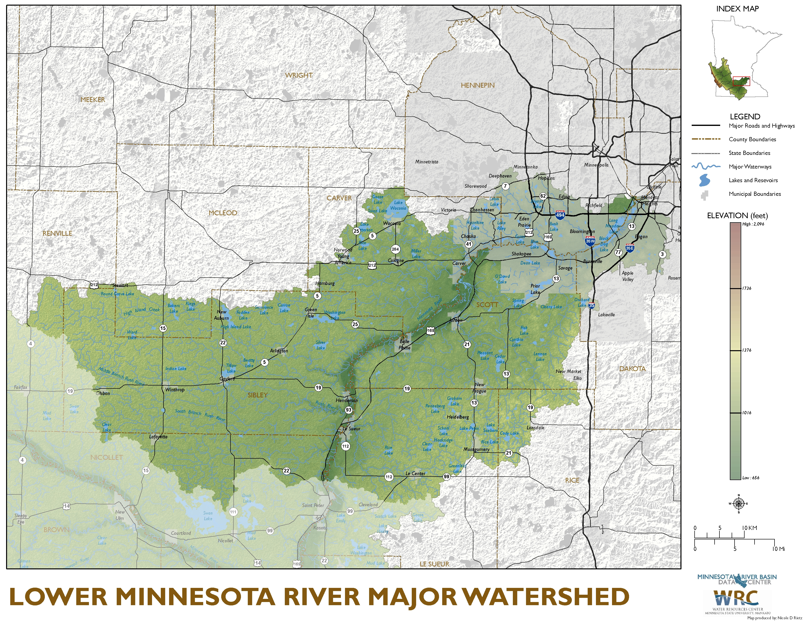 Lower Minnesota River Major Watershed Map