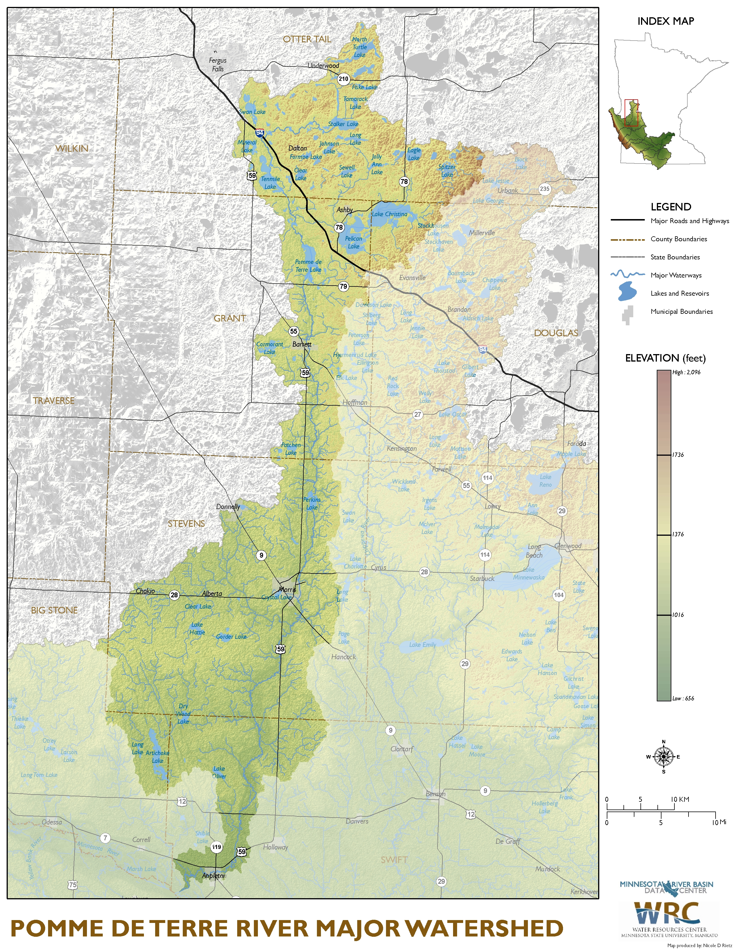 Pomme de Terre River Major Watershed Map