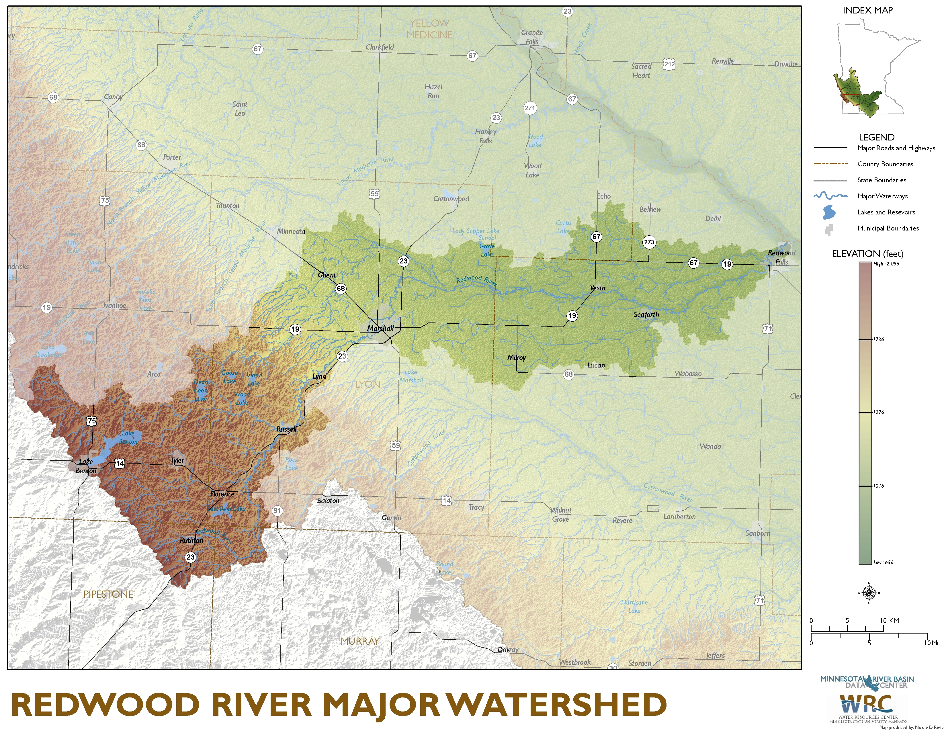 Redwood River Major Watershed Map
