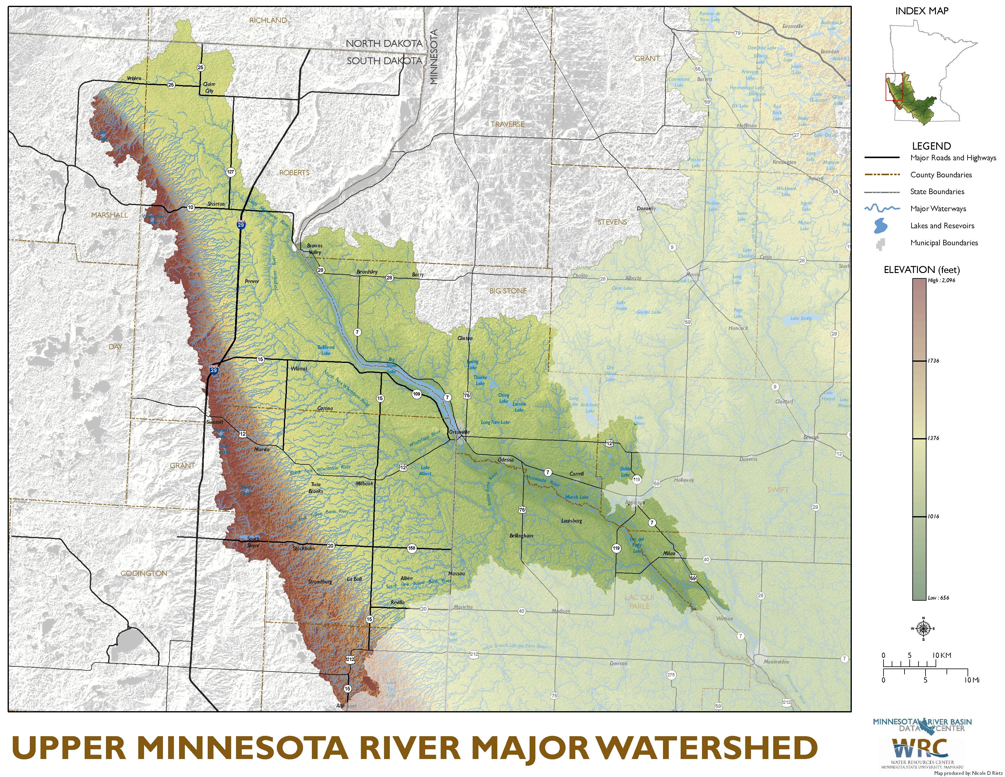 Upper Minnesota River Major Watershed Map