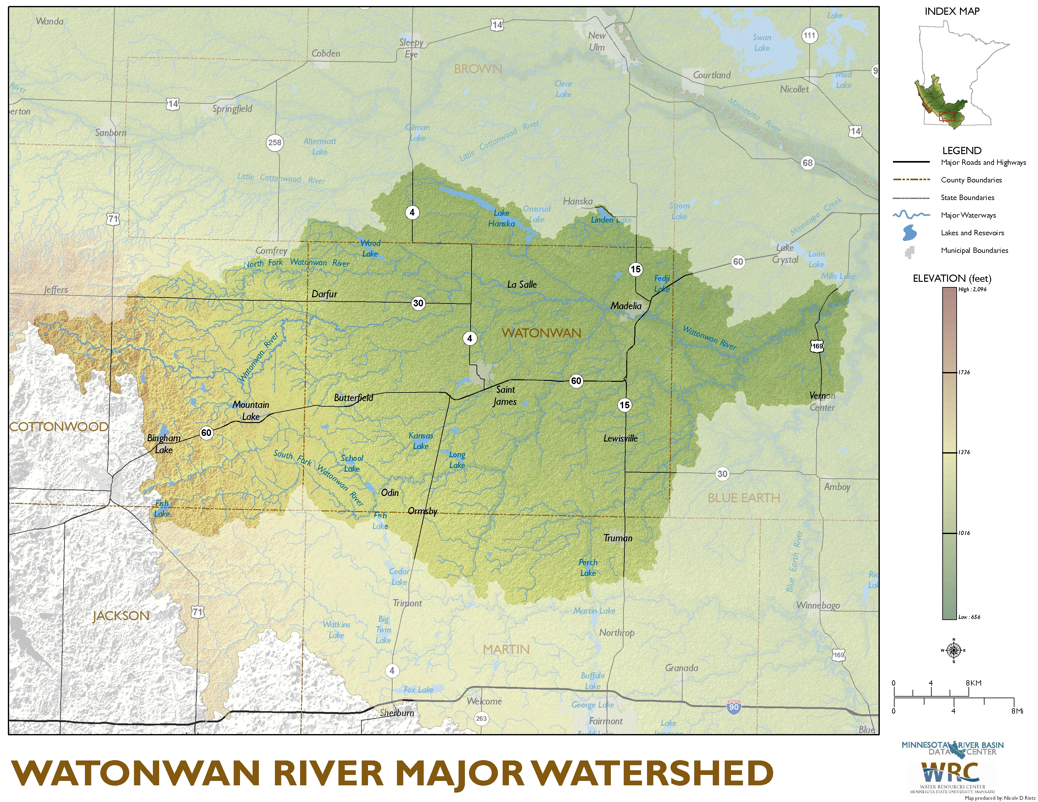Watonwan River Major Watershed Map