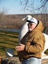 John Fritsche by Gertie the Goose statue New Ulm